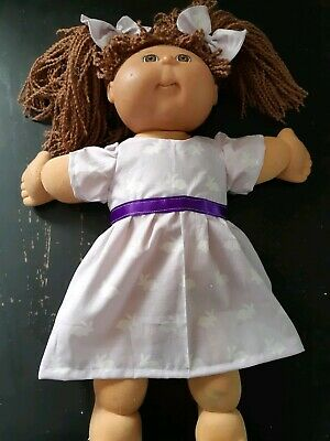 Homemade Cabbage Patch Purple with Rabbits Dress with hair ties