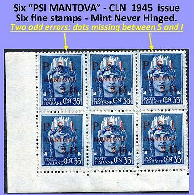 Six stamps PSI-MANTOVA 1945 CLN four fine MNH and two fine typeset freaks (#137)