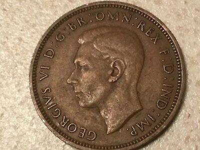 1946 George VI British halfpenny ship half pence