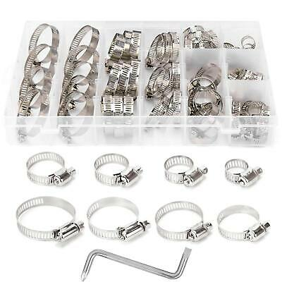 Stainless Steel Hose Clamp Clip + Z Wrench Kit Set 8 Size 8-44mm Assorted 80Pcs