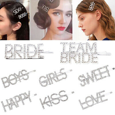 Team Bride To Be Crystal Letters Hair Clip Hairpin Wedding Bridal Hair Accessory