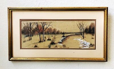 Original Watercolor Painting Signed F.P. Albright Early Winter Forest Landscape