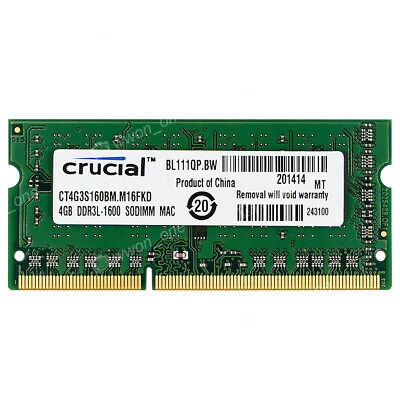Crucial 4GB 8GB 16GB PC3L-12800S 1600MHz So-dimm  For MacBook Pro iMac Memory
