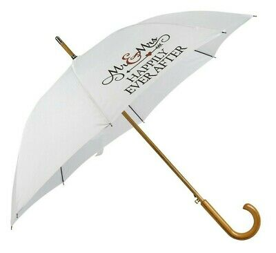 White Wedding Umbrella Mr & Mrs Printed - Automatic with Wooden Curved Handle