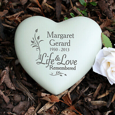 Personalised In Life & Love Heart Memorial, Name and Date, Grave, Remembrance
