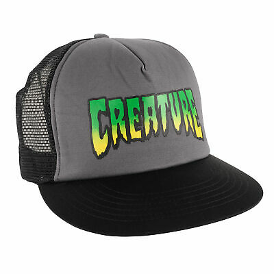 8a12cf480f1 CREATURE LOGO MESH Back Trucker Cap - Grey   Black -  19.79