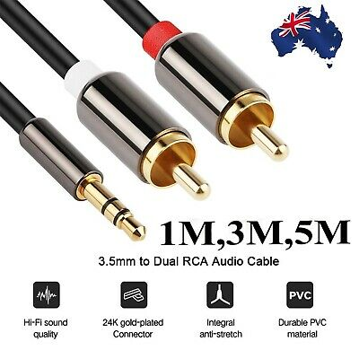 New Gold Plated Premium 3.5mm Male to 2 RCA AUX Male Auxiliary Stereo Audio AU