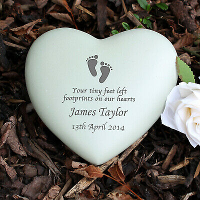 Personalised Baby Footprints Heart Memorial Ornament Grave In Loving Memory