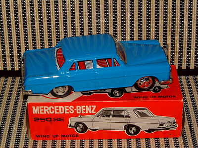 Rare Nos Ichimura Tin Mercedes Benz 250 Se W/functioning Clockwork Drive & Box!
