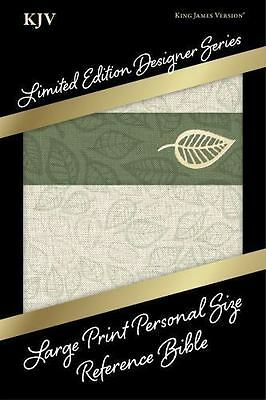 KJV Large Print Personal Size Bible, Designer Series Linen Leaves, Leather Touch