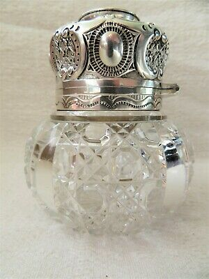 Superb Victorian Silver Gilt & Crystal Perfume Bottle Lond 1899 Grinsell & Sons