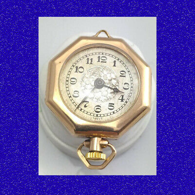 Pretty Swiss Octagonal L'Epine Edwardian Fob Necklace Pendant Pocket Watch 1910