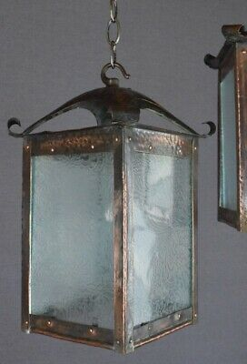 Arts & Crafts Beaten Copper Lantern – 2 available