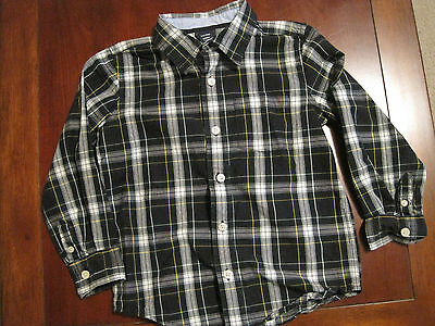 Baby Gap Boys Navy Blue Green White Plaid Collar Cotton Long Sleeve Shirt 5T EUC