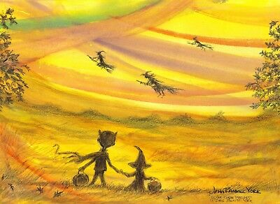 I SAW THREE WITCHES Halloween Sunset Children Signed Print by  JOHN RANDALL YORK