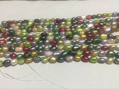 """Color 5-6mm Multicolor Freshwater Cultured Pearl Loose Beads 14"""""""