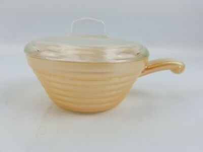 Vintage Fire King Peach Lustre Soup Bowl With Handle And Lid Oven Ware USA