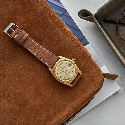 20mm 19mm 18mm Tan Brown Grained Calfskin Leather Elegant Vintage Watch Strap