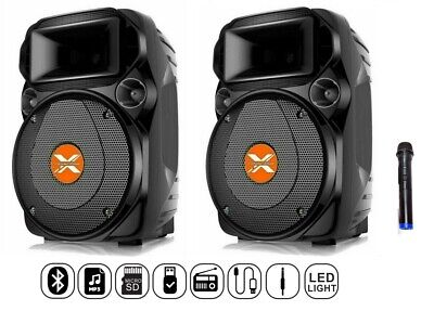 2 CASSE AUDIO AMPLIFICATE ATTIVE 1100W Bluetooth USB SD MP3 RADIO FM KARAOKE