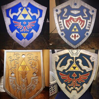 Legend of Zelda: Hylian Shield Wooden Engraved All Styles Available Full Size