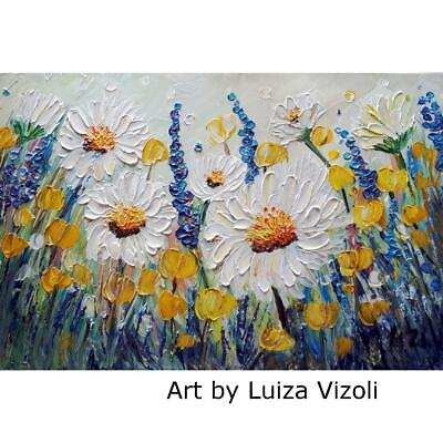 Lavender Chamomile Yellow Poppies Wild Flowers Oil Impasto ORIGINAL PAINTING Art