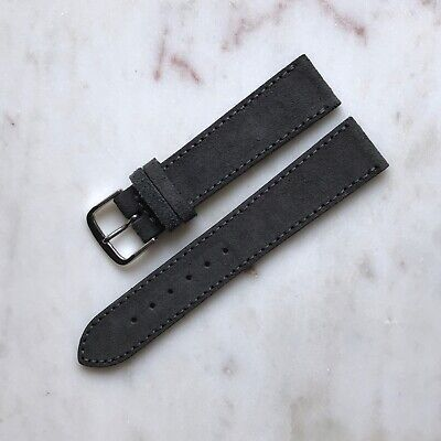20mm 18mm Handmade Vintage Slate Grey Genuine Suede Leather Watch Strap Band