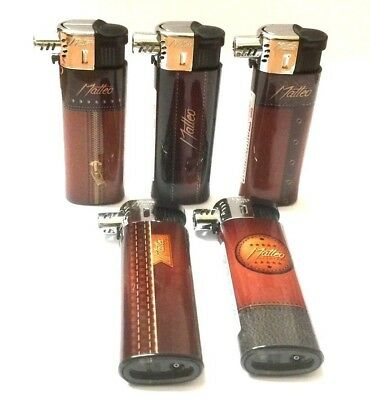 3 x PIPE LIGHTERS GAS Refillable Soft Flame ANGLED Adjustable MATTEO LIGHTER