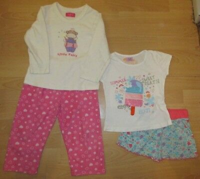 Girls PYJAMAS pj's x 2, shortie shorts pair & long fleecy pair 4-5 yrs