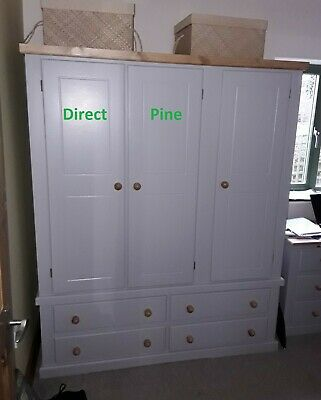 Shaftesbury Range Handmade Triple 4 Drawer Wardrobe Grey/ Antique Pine Trims