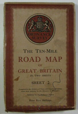 1946 Old OS Ordnance Survey Ten-Mile Road Map of Great Britain Sheet 2 on CLOTH