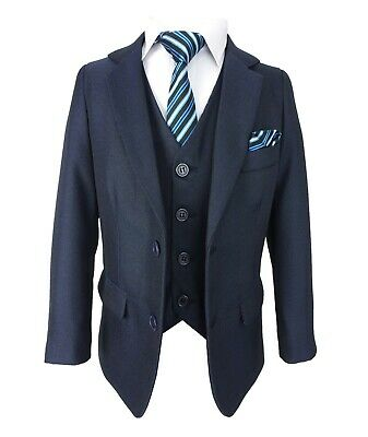 Kids Tailored Fit All in One Page Boys Wedding Communion Prom Dark Blue Suit