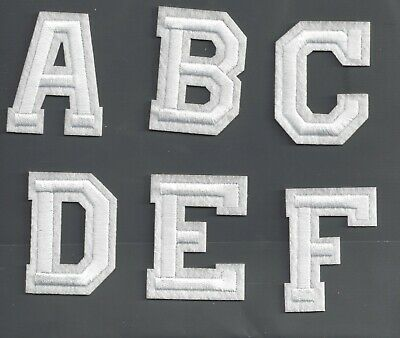 New Alphabet letters patch Varsity 2 inch white on cream Sew or Iron on letter