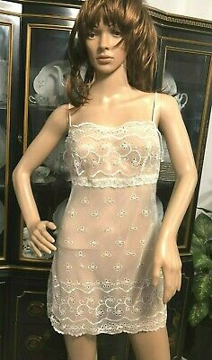 1ad0da7851 Victoria s Secret Slip Teddy Babydoll White Sheer eyelet lace chemise  nightgown