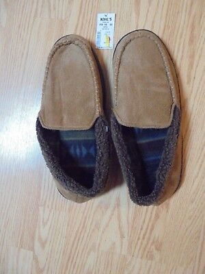 Kohl's Men's Microsuede Slippers L(10-11) Tan  Thermoplastic Rubber Soles $25