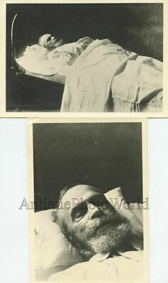 Bearded dead old man on death bed 2 antique post mortem funeral photos