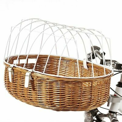 Bicycle Pet Wicker Basket With Cage Handlebar Mounted - 2 Sizes