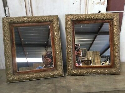 Antique vintage Victorian pair of mirrors with gold gilt over wood with velvet