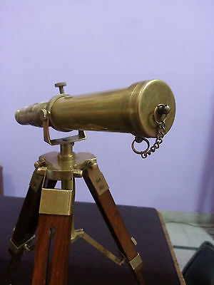 Vintage Solid Brass Nautical Telescope With Wooden Tripod Desk Telescope Decor.
