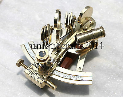 "Solid Brass Sextant 4"" Maritime Astrolabe Marine Ships Instrument Handmade Item."