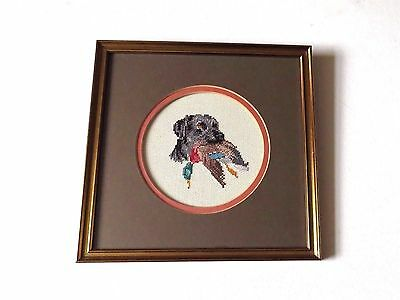 Hunting Gun Dog Completed Cross Stitch Tapestry in Glazed Frame 28cm square VGC