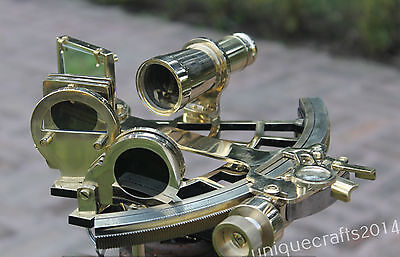 "Nautical Solid Brass Working Sextant 9"" Handmade Vintage Marine Decor Gift Item"