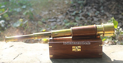 Solid Brass Nautical Telescope ~Maritime Spyglass Vintage Scope With Wooden Case