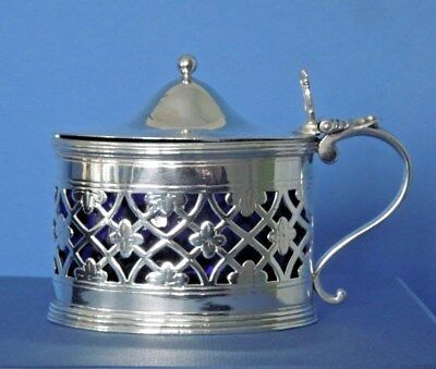 Silver Mustard Pot Geo.lll  London 1801  William Allen lll.  Blue glass liner