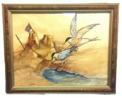 Patriotic Painting Drawing Seagulls Birds Beach Scene Sandcastle Art Signed