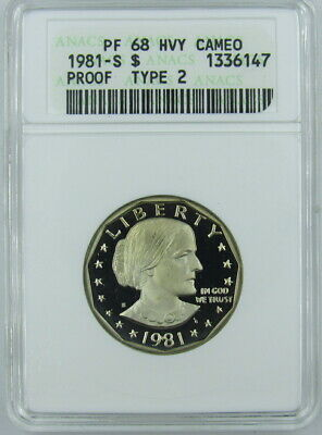 1981-S Type 2 Proof Susan B Anthony Dollar Anacs Pf68 Heavy Cameo - Old Holder