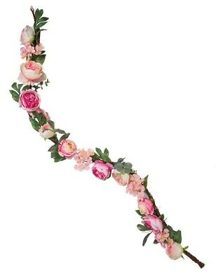 Victorian Trading Co Garden's Blush Pink Roses Floral Garland Lighted