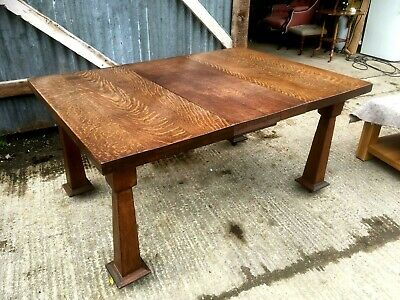 Edwardian Oak Arts And Crafts Extending Dining Table