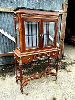 Vintage French Ormolu Mounted Marble Top Display Cabinet
