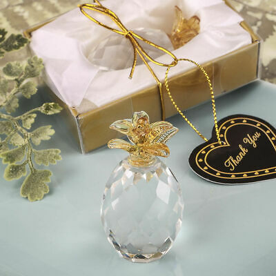 Choice Clear Crystal Pineapple With Gold Detail Ornament - Gift Boxed