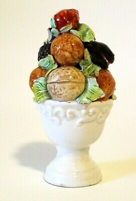 """Vintage Mid-Century Ceramic Fruit Topiary Centerpiece Hand Painted In Italy, 5"""""""